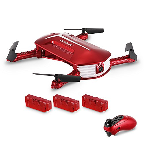 Drone avec caméra , GoolRC T37 Mini 2.4G 6 axes Gyro WIFI FPV 720P Caméra HD Quadcopter,la Télécommande du capteur de gravité, pliable RC Selfie Pocket Drone avec Deux batteries supplémentaires