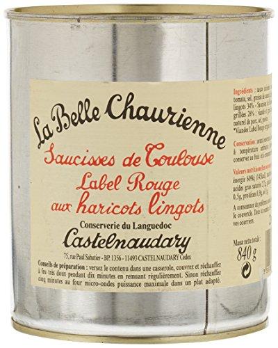 La Belle Chaurienne Saucisses de Toulouse Label Rouge aux Haricots Lingots 840 g - Lot de 3