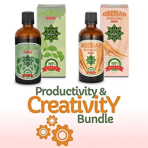 Cvetita Herbal, Productividad y Creatividad,Ginkgo biloba y ginseng siberiano Panax,2 x 100 ml extractos de hierbas naturales,Suplemento de energía,Adaptógeno,Poderoso inmunoestimulante