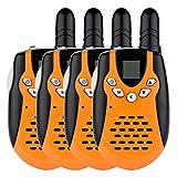Floureon 8 Canaux Lot de 4 Talkies walkies UHF400-470MHZ 2-Way Radio 3KM gamme interphone orange et noir