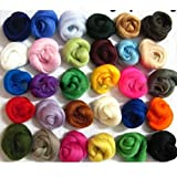 SOLEDI Set of 36 Colours Merino Wool Fibre Roving For Needle Felting DIY Materials