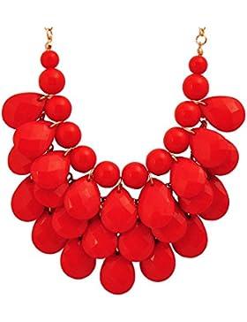 Jane Stone Damen Halskette Statement-Kette Tropfenform Beads und Charms goldfarbene Kette aus Resin und Metalllegierung