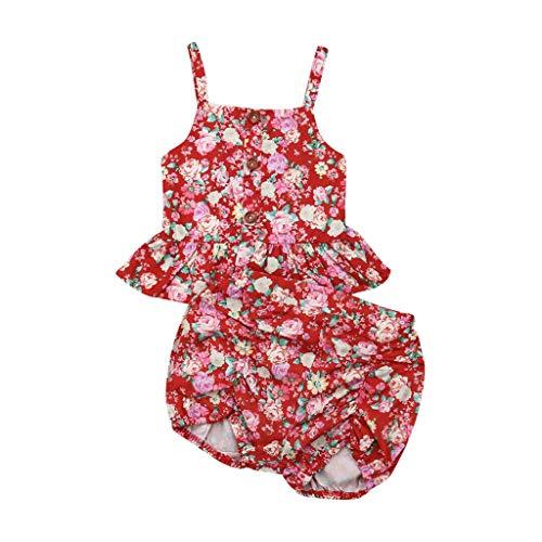 Zylione Sleeveless Sling Floral Top Vest für Kinder + Blumenshorts - Floral Sleeveless Jersey