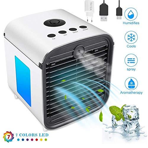 Mini Luftkühler, Air Portable Cooler Luftkühler Mobile Klimageräte, Luftbefeuchter, Aromatherapie-Maschine, Vernebler, Leakproof mit LED-Nachtlicht (Upgrade für 3 Generationen - weiß)