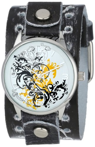 Nemesis Women's THR827N Classic Yellow Plant Art Leather Cuff Band Watch