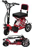 Msoah Deambulatore per Anziani, Mini Triciclo Elettrico Pieghevole per Scooter Elettrico per Adulti Litio Portatile per Disabili Batteria per Auto Anziano 48V può Durare 60 Km