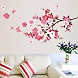 Gemini_mall® Removable Pink Blossom Plum Flowers Butterfly Wall Sticker Mural Art Decal DIY Home Room Decor for Living Room, Bedroom, Kids Room