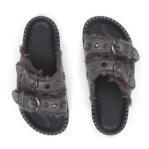 Ideal Shoes Mules en Similicuir à Double Boucles Fourrées Layla Gris