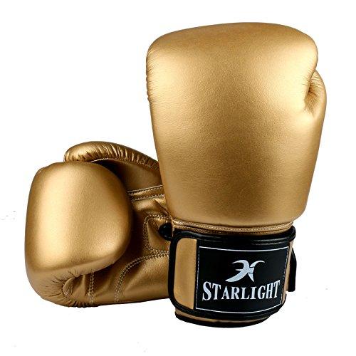 Boxhandschuhe, Stanz Handschuhe mit Klettverschluss Handgelenk Band für Boxen/Kickboxen/Muay Thai/Heavy Bag/Training/Klassen/Gym oder Zuhause, Fight Glove Anzug für Männer/Frauen, goldfarben, 340,2 g (12 oz) Frauen Training Bag