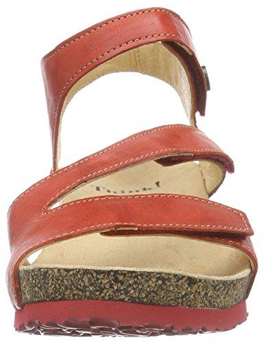 Think - Kessy Sandale, Scarpe col tacco con cinturino a T Donna Rosso (Rot (CHILLI/KOMBI 76))