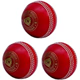 Pack Of 3 Synthetic All Red Spin Sports Cricket Coaching Match Game Practice Training PVC Poly Soft Incredible Complete Red Ball Water Proof All Weather Sturdy Bright Colour In Set Of THREE General Bowling Skills Smart Balls Ideal For Youth/Senior Boys/Me