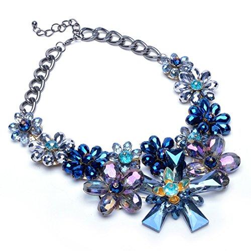 Collana Donna Ragazza con Cristallo Grande Luminoso Festa Regalo Matrimonio Stile Fiore Blu