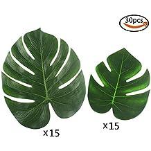SHAN RUI 30pcs de feuilles tropicales et les feuilles de palmier tropicales imiter les feuilles de plantes, les objets de décoration pour la fête de plage et la fête de jungle de Hawaï les fleurs d'été