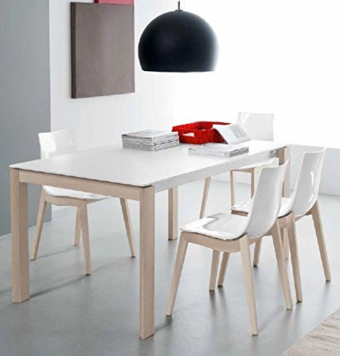 Calligaris connubia by Table Eminence W 160 à - Plan/allonge : GTA Verre Temp sérigraphié Taupe L Lam Taupe OP - Structure : P176 MT. Taupe Mat - Jambes : P132 FG. Graphite