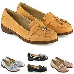 4653b2e720ef2 Womens ladies loafers flat casual office work school fringe tassel ...