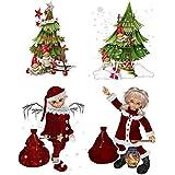 4 Bügelbilder Weihnachten für helle Textilien