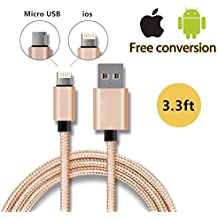Eximtrade 2en1 USB Cable de Carga Anti-Enredo Nylon con Micro USB y Lightning Conector para Apple iPhone 5/5c/5s/6/6s/6 Plus/6s Plus, iPad Mini/Mini 2/Min 3/Air/Air 2/4, Samsung Galaxy S4/S5/S6/S6 Edge/S6 Edge Plus/Note 3/Note 4/Note 5, HTC One, Motorola, Sony Xperia, Otro Smartphones y Tablets