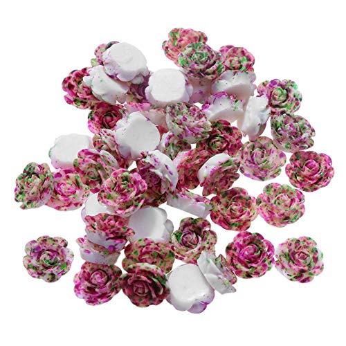 Demiawaking Cristal Perles en Strass Autocollants Accessoires de Bijoux Blanche Bricolage Colliers 50pcs / lot 13mm Résine Rose Fleur Fond Plat Bricolage Décor (Haricot Rouge)