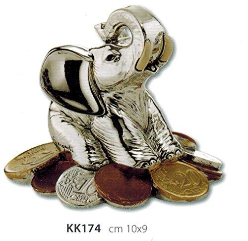 Elefante portafortuna con soldi argento e smalto kikke cm10x9 laminato argento made in italy