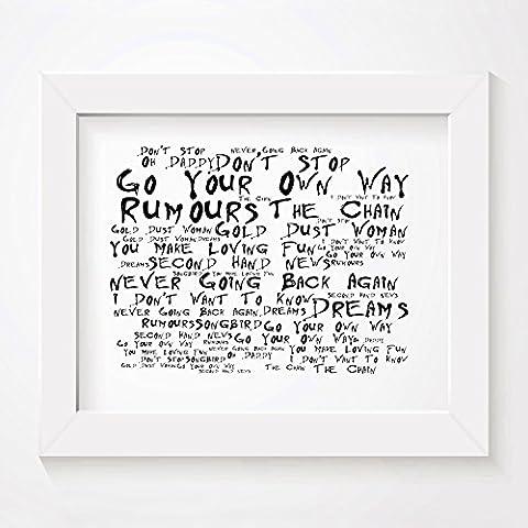 `Noir Paranoiac` Art Print - FLEETWOOD MAC - Rumours - Signed & Numbered Limited Edition Typography Unframed 25 x 20 cm (10 x 8 inch) Album Wall Art Print - Song Lyrics Mini