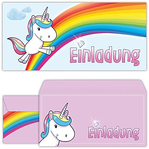 Einhorn Einladungskarten mit Umschlägen (12er Set) zum Kindergeburtstag von BeriluDesign | Unicorn Kinder Geburtstag-Einladungen Karten Feier Party Mädchen