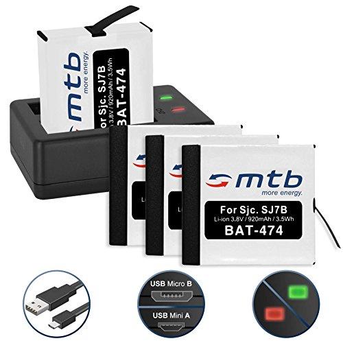 Galleria fotografica 4 Batterie + Caricabatteria doppio (USB) per SJCAM SJ7 Star 4K NATIV WiFi (Black / Silver / Rose Edition), SJ7000 Star Actioncam - Cavo USB micro incluso