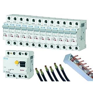 FI-/LS-Schalter-Set EATON, 12 Automaten B16A, FI-Schalter 40/0,03A, Phasenschiene, 3 Brücken