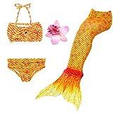 DAXIANG 3 Pièces Maillot de Bain Princesse Queue de Sirène Mermaid Bikini(Il y a la boucle au bas de la queue,pouvez ouvrir pour marcher ou fermer pour ajouter monopalme) (130(6-7Ans), Jaune)