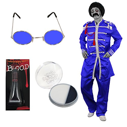 ILOVEFANCYDRESS Zombie 60s Generation Sergeant-Pepper KOSTÜME VERKLEIDUNG+BOB PERÜCKE+Hippie Brille+Schnurrbart+KUNSTBLUT +Make UP=Retro Musik VERLEIDUNG Fasching Halloween=BLAUES KOSTÜM-MEDIUM