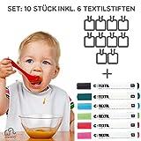 Lätzchen bemalen | SET: 6 Textilstifte + 10 weiße Lätzchen | mit wasserabweisender Rückseite | Kinder & Erwachsene | Textilstifte Rico Design | Babyparty | Marke ZoeZoo
