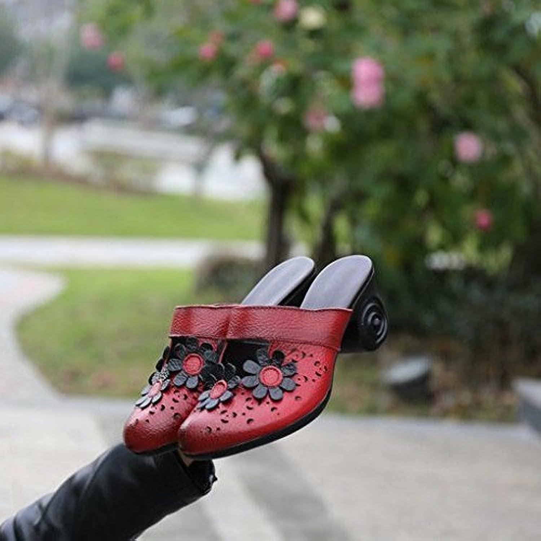 Tongs pour Femmes Le été Faites Glisser Le Femmes Mot Baotou Cuir Artificiel Rough à Talon Haut avec Le Rouge 6.5 US / 37... 1dbb6a