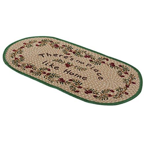 Leinen Oval Teppich (Gtt Küche Teppich Natürliche Leinenmatte Oval Teppichmatte Veranda Matte Schlafzimmer Nacht Teppich rutschfeste Teppich, 100 * 50 cm)