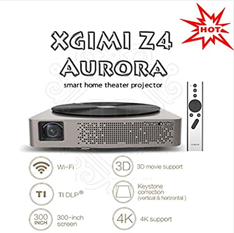 XGIMI Official Z4 Aurora *Screenless TV* Entertainment Center of the Future LED Home Cinema 3D Projector with Harman/Kardon Customized Stereo, Gesture Control, and Android OS