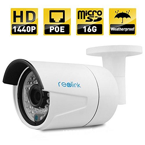 Reolink-410S 4 Mega Pixel HD PoE Projektil IP Sicherheitskamera,16G Mikro SD Karte Eingebaut, Nacht Sicht,Feste Linse Sicherheitskamera, E-Mail Warnsignal, Bewegungsmelder,Verbinde und Spiele, Fern Zugang