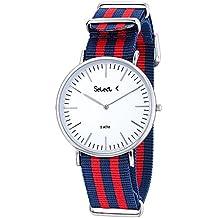 Ref. CE-03-09 Reloj Select Unisex, analógico, caja de acero, esfera blanca, correa bicolor azul y roja, sumergible 50 metros, garantía 2 años.