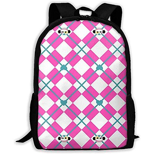 Lässiger Rucksack,Schulrucksack,Tagesrucksack für Erwachsene/Kinder,Tagesrucksack für draußen,Leichter Laptop-Rucksack Sugar Skull Argyle für Männer Frauen,Verstellbarer College-Rucksack,Oxford-Rucksa -
