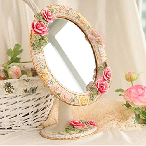 Miroir miroir- Desktop HD Portable simple face cosmétique maquillage miroir beauté résine 18cm réglable 27cm*rose ovale salle de bains Sweet miroir sur pied Bienvenue ( Couleur : B )