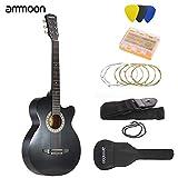 ammoon 38' 6 Cuerdas Cutaway Folk Guitarra Acústica con la Correa del Bolso Cadena Tuner...