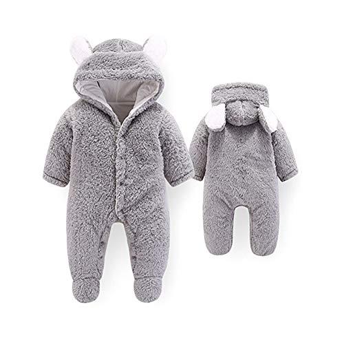 Baby Strampelanzug mit Füssen, Mütze für Jungen und Mädchen, mit Kapuze, für 0-12 Monate, Halloween, Cosplay-Kostüm 6-9 Monate grau