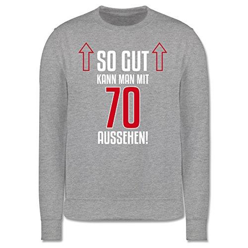 Geburtstag - So gut kann man mit 70 aussehen - Herren Premium Pullover Grau Meliert