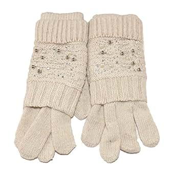 stretch modisch EEM Damen Jersey Handschuhe ERIKA mit Touch-Funktion und Strass-Applikation aus Baumwolle smartphone