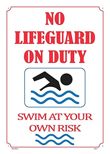 Lifeguard Club (Sary buri No Lifeguard On Duty Swim at Your Own Risk Pool Safety Plaque Wandkunst Garage Club Bar Dekoration)
