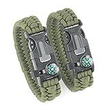 DETUCK®Freizeit ParacordArmband Handgelenk Überlebensarmband Seil mit Kompass Zündler Kratzer Pfeife (2 Stk. pro Pack) (Armeegrün)