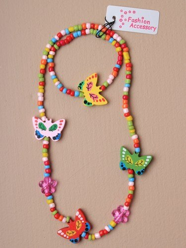 Coloured wooden Butterfly And Bead Necklace And Bracelet Set