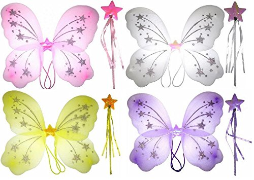 Wings Ladies Girls Butterfly Fairy and Wand White Pink Purple Yellow (White)