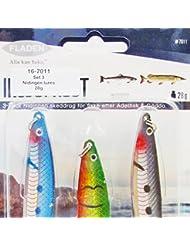 Fladen 3x Nidingen Spinning Hundimiento Lento Señuelos de Pesca (3unidades, 18g y 28g)–Ideal para lucio y trucha, caqui