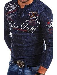 MT Styles style vintage à manches longues Polo VT-BLUE R-0763