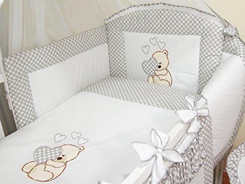 Literie de bébé ensemble set complet 3 pièces Housse de couette Taie d'oreiller Tour de lit 100% coton avec broderie motif brodées nounours/ourson pour fille garçon (120x60cm, Gris)
