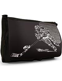 Ice Hockey Black Large Messenger School Bag