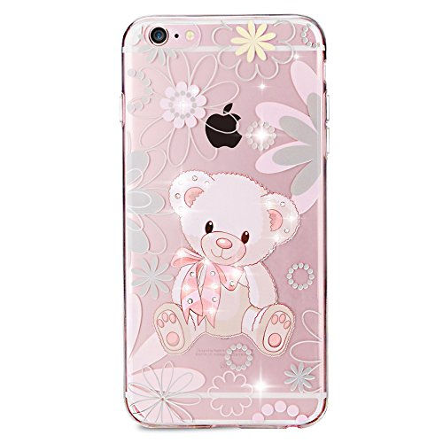 SainCat Coque Housse pour Apple iPhone 5s,Transparent Coque Silicone Etui Housse,iPhone 5 Silicone Case Soft Gel Cover Anti-Scratch Transparent Case TPU Cover,Fonction Support Protection Complète Magn Cute Bear